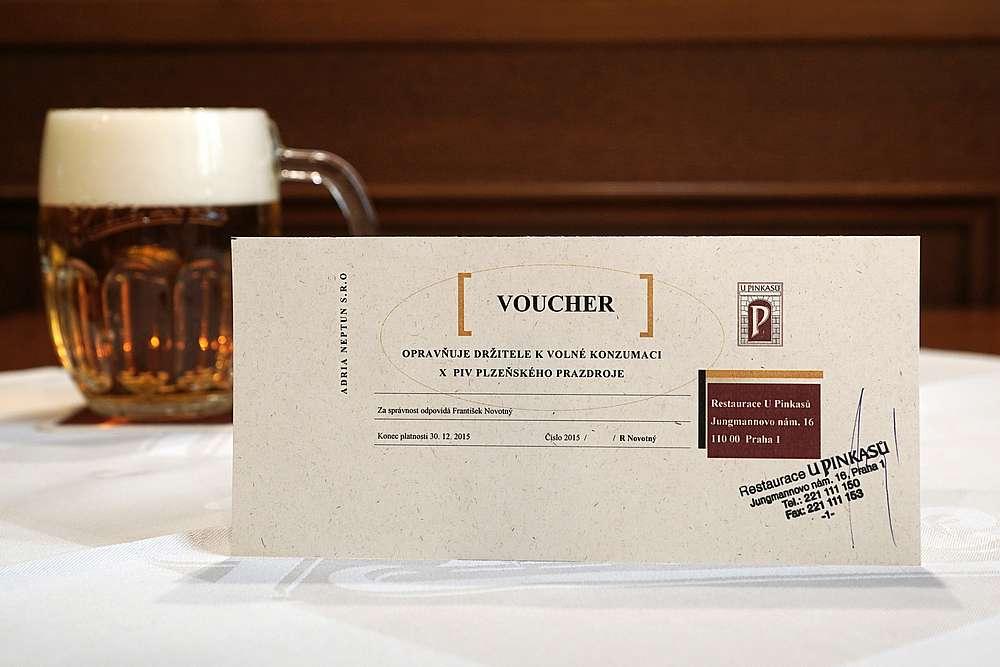 Beer Voucher at Pinkas 1 U Pinkasu Restaurant